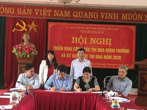 Cụm thi đua số 1 Ủy ban MTTQ Việt Nam huyện Mê Linh triển khai công tác thi đua khen thưởng và ký giao ước thi đua năm 2020