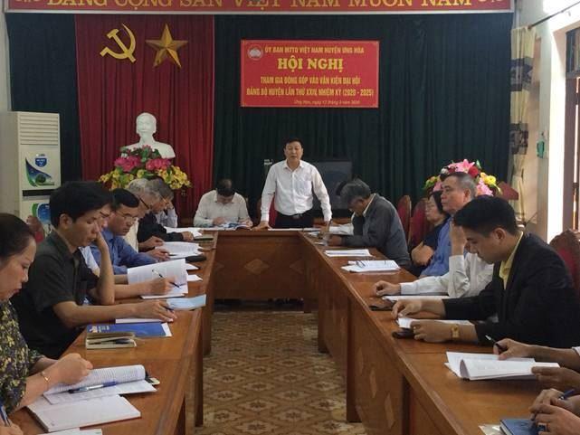 Ủy ban MTTQ Việt Nam huyện Ứng Hòa đóng góp ý kiến vào Dự thảo Báo cáo chính trị của Ban chấp hành Đảng bộ huyện khoá XXIII  nhiệm kỳ 2015-2020