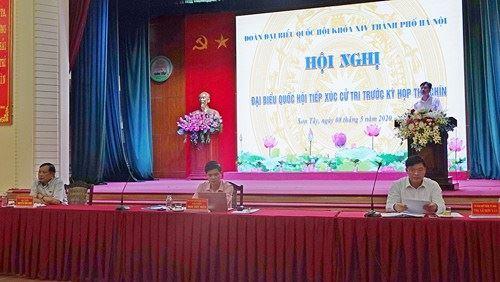 Đoàn đại biểu Quốc hội TP Hà Nội tiếp xúc cử tri thị xã Sơn Tây