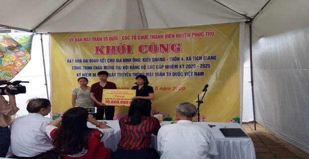 Ủy ban MTTQ Việt Nam huyện Phúc Thọ khởi công nhà đại đoàn kết chào mừng Đại hội Đảng các cấp và kỷ niệm 90 năm Ngày truyền thống MTTQ Việt Nam