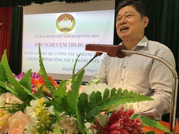 Ủy ban MTTQ Việt Nam huyện Ứng Hòa tổ chức sơ kết công tác Mặt trận  6 tháng đầu năm 2020 tại cụm thi đua số 3