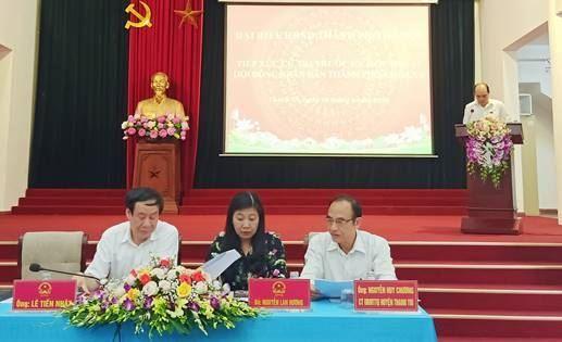Chủ tịch Ủy ban MTTQ Việt Nam thành phố Hà Nội Nguyễn Lan Hương tiếp xúc với cử tri huyện Thanh Trì  trước kỳ họp thứ 15 HĐND Thành phố khóa XV