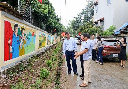 Ủy ban MTTQ Việt Nam thị xã Sơn Tây kiểm tra tuyến đường Xanh, sạch, đẹp các xã, phường