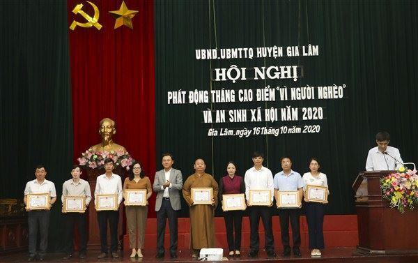 """Huyện Gia Lâm phát động tháng cao điểm """"Vì người nghèo"""" năm 2020,  phát động ủng hộ đồng bào Miền Trung bị thiệt hại do mưa lũ"""