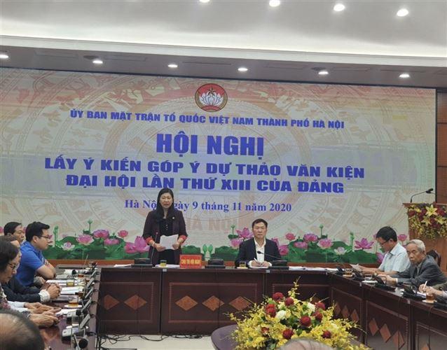 Ủy ban MTTQ Việt Nam TP Hà Nội tổ chức hội nghị lấy ý kiến góp ý vào dự thảo văn kiện Đại hội lần thứ XIII của Đảng