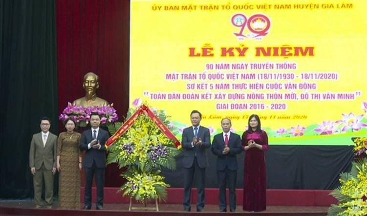 Gia Lâm tổ chức Lễ kỷ niệm 90 năm ngày truyền thống Mặt trận tổ quốc Việt Nam (18/11/1930- 18/11/2020);