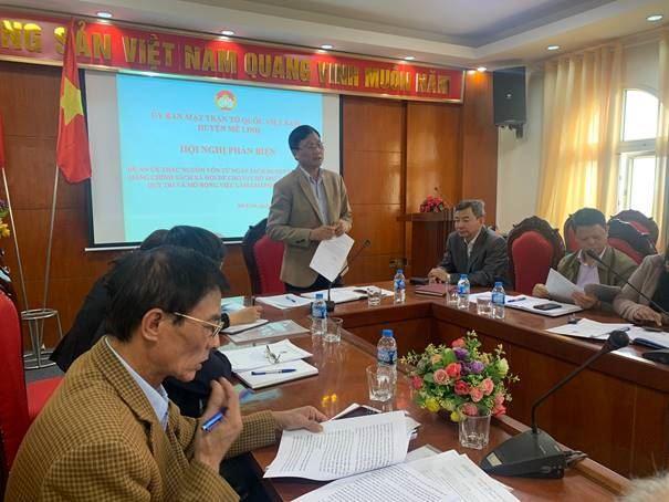 Huyện Mê Linh tổ chức Hội nghị Phản biện vào dự thảo Đề án ủy thác nguồn vốn từ ngân sách huyện sang Ngân hàng chính sách xã hội để cho vay hỗ trợ tạo việc làm, duy trì và mở rộng việc làm giai đoạn 2021 - 2025.