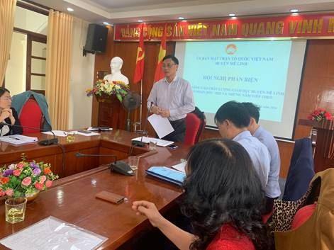 Ủy ban MTTQ Việt Nam huyện Mê Linh tổ chức phản biện vào dự thảo Đề án nâng cao chất lượng giáo dục huyện giai đoạn 2021 – 2025 và những năm tiếp theo.