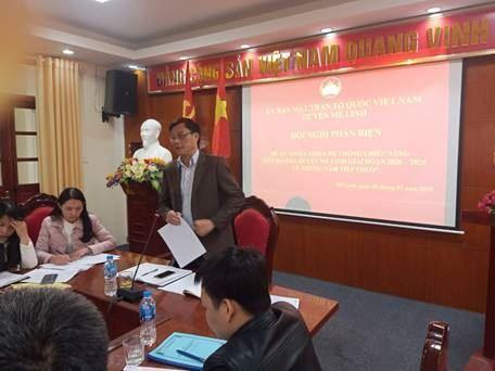 """Ủy ban MTTQ Việt Nam huyện Mê Linh tổ chức Hội nghị Phản biện vào dự thảo Đề án """"Hoàn thiện hệ thống chiếu sáng trên địa bàn huyện Mê Linh giai đoạn 2021 – 2025 và những năm tiếp theo""""."""