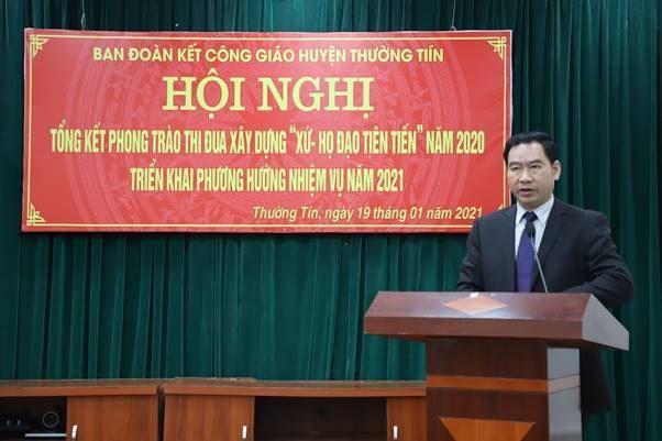"""Ủy ban MTTQ Việt Nam huyện Thường Tín phối hợp với Ban đoàn kết công giáo tổ chức Hội nghị tổng kết phong trào thi đua xây dựng """"Xứ - Họ đạo tiên tiến"""" năm 2020"""