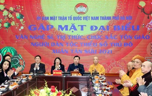 Ủy ban MTTQ Việt Nam TP gặp mặt đại biểu văn nghệ sỹ, trí thức, chức sắc Tôn giáo, người dân tộc thiểu số Thủ đô nhân dịp Xuân Tân Sửu 2021