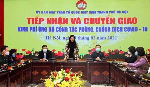 Ủy ban MTTQ Việt Nam TP tiếp nhận và chuyển giao kinh phí hỗ trợ  công tác phòng chống dịch Covid-19