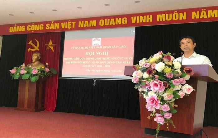 MTTQ Cầu Giấy tổ chức hội nghị hướng dẫn các tổ chức, cơ quan, đơn vị được phân bổ người ứng cử đại biểu HĐND Quận khoá VI, nhiệm kỳ 2021-2026