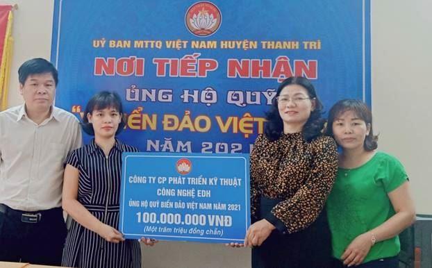 """Ủy ban MTTQ Việt Nam huyện Thanh Trì tiếp nhận ủng hộ """"Quỹ Biển đảo Việt Nam"""" năm 2021"""
