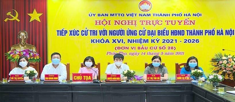 Ứng cử viên đại biểu HĐND thành phố Hà Nội khoá XVI, nhiệm kỳ 2021-2026 tiếp xúc với cử tri  huyện Phúc Thọ