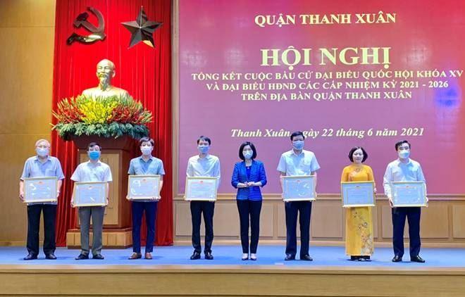Quận Thanh Xuân tổng kết cuộc bầu cử đại biểu Quốc hội khoá XV và đại biểu HĐND các cấp nhiệm kỳ 2021-2026