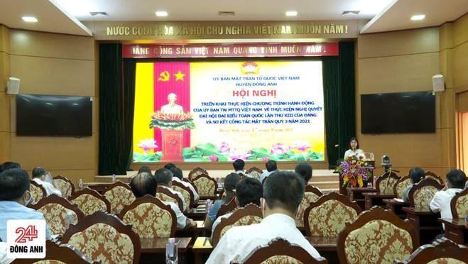Đông Anh triển khai Chương trình hành động của MTTQ Việt Nam thực hiện Nghị quyết Đại hội đại biểu toàn quốc lần thứ 13 và sơ kết công tác Mặt trận quý 3 năm 2021
