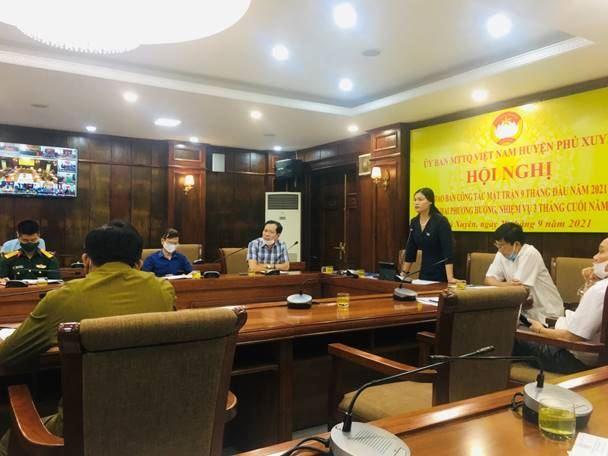 Ủy ban MTTQ Việt Nam huyện Phú Xuyên tổ chức Hội nghị lần thứ VI nhiệm kỳ 2019-2024, giao ban công tác Mặt trận 9 tháng đầu năm và triển khai nhiệm vụ 3 tháng cuối năm 2021.