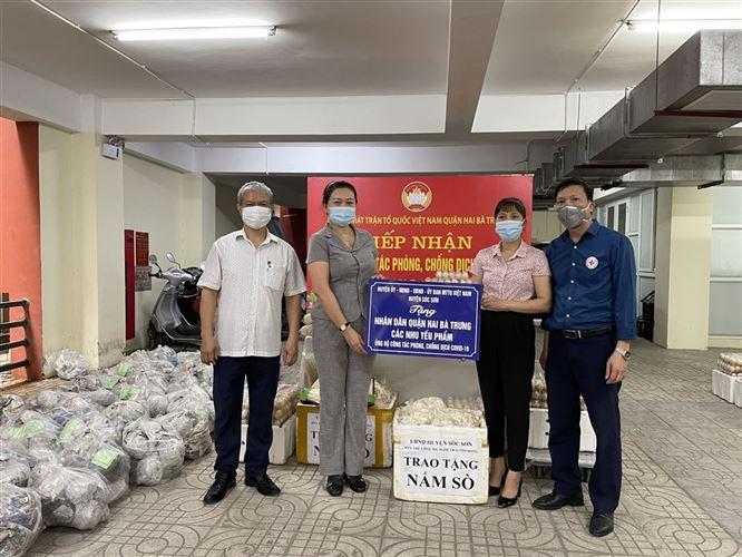 Quận Hai Bà Trưng tiếp nhận nhu yếu phẩm của huyện Sóc Sơn và huyện Chương Mỹ hỗ trợ công tác phòng, chống dịch Covid-19