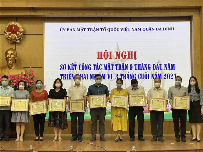 Ban Thường trực Ủy ban MTTQ Việt Nam quận Ba Đình sơ kết công tác 9 tháng đầu năm, triển khai nhiệm vụ 3 tháng cuối năm 2021