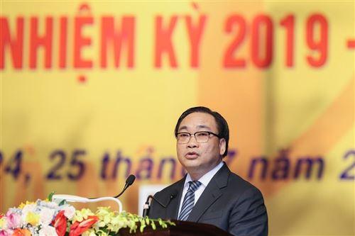 Đồng chí Hoàng Trung Hải - Ủy viên Bộ chính trị, Bí thư Thành ủy Hà Nội phát biểu tại Đại hội.