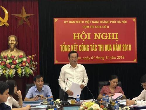 Đồng chí Dương Cao Thanh - Phó Chủ tịch Ủy ban MTTQ Việt Nam TP, phụ trách cụm  thi đua số 2 phát biểu tại hội nghị tổng kết công tác năm 2018